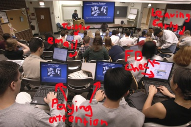 image showing distracted students in a classroom