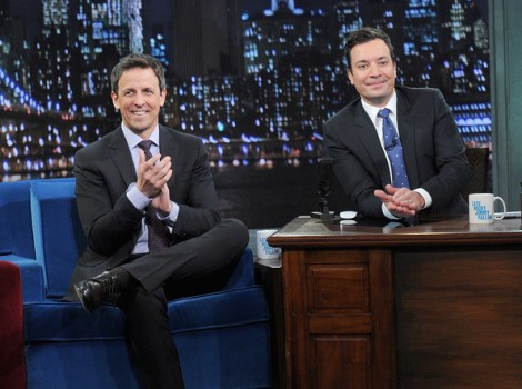 Jimmy Fallon (R) and Seth Meyers (L). Photo via Zimbio.